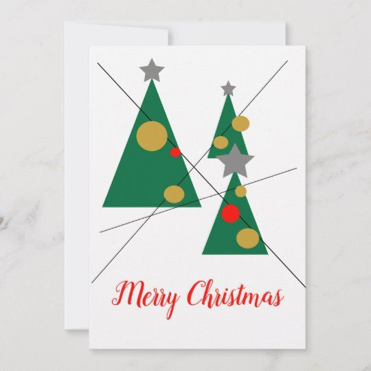 Christmas Trees Modern Digital Art Flat Holiday Card Zazzle Com Modern Christmas Cards Digital Christmas Cards Holiday Design Card