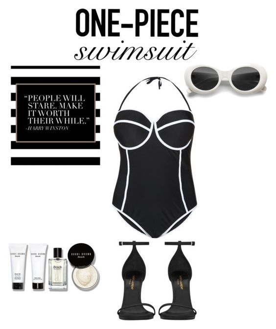 """Untitled #223"" by krismonet on Polyvore featuring New Look, Yves Saint Laurent, Kiyonna, Bobbi Brown Cosmetics, stylishcurves and plussizeswimsuit"