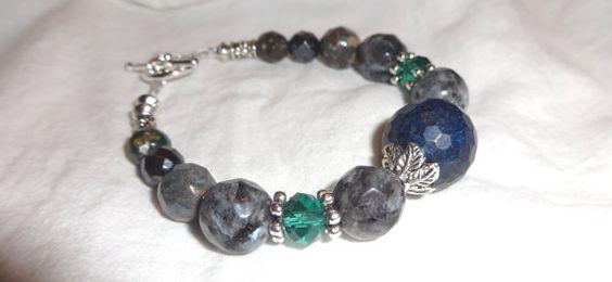 Lapis Lazuli Bracelet  with Larvikite Black by Willowette on Etsy, $38.00