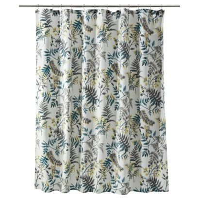 Threshold botanical shower curtain (teal, gray/brown, mustard yellow on white) at Target.
