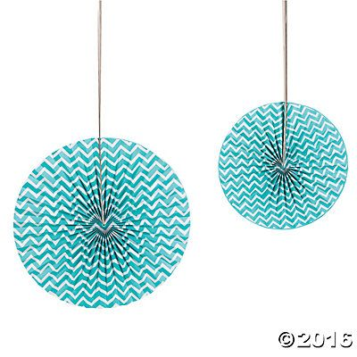 Chevron Turquoise Fans - Oriental Trading Company - $8.99 for 6