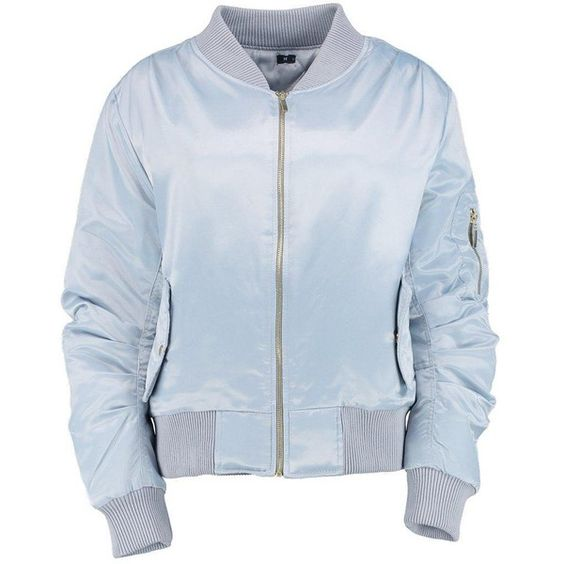 Tessa Satin MA1 Bomber (€24) ❤ liked on Polyvore featuring outerwear, jackets, tops, blue bomber jacket, blue satin jacket, satine, bomber jacket and satin bomber jacket