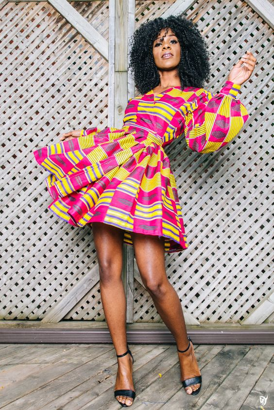 Mini African Print Wrap Dress: