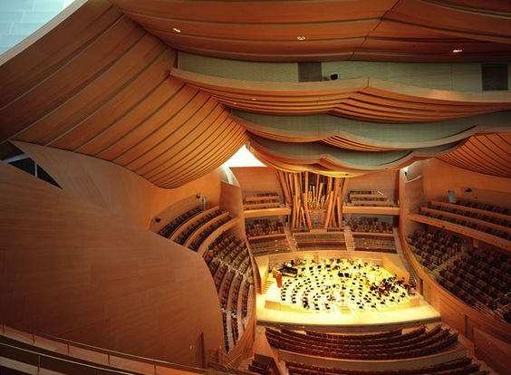 Interior view of the Disney Concert Hall, the acoustics of the concert hall designed by Yasuhisa Toyota and photographed by Julius Shulman