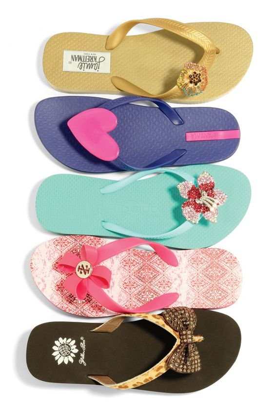 Flip-Flops Fashion: Making Waves (From top: Jamie Kreitman; Ipanema; Flip Out; Izod; Yellow Box)