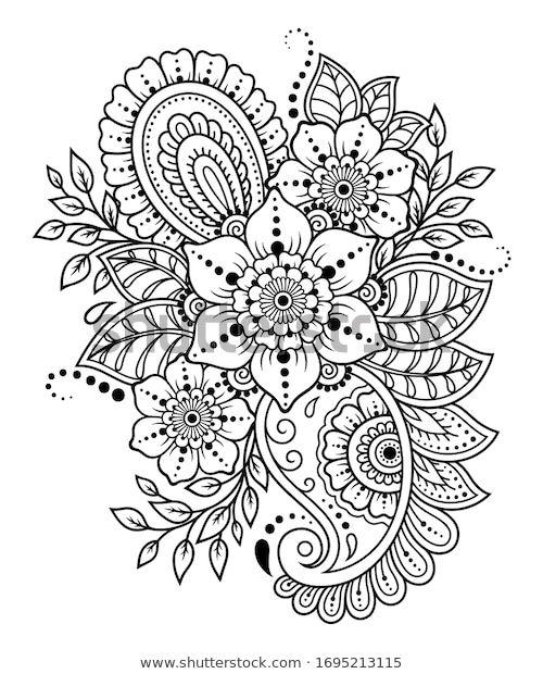 Shutterstock Koleksiyonunda Hd Kalitesinde Mehndi Flower Pattern Henna Drawing Tattoo Temali Stok Gorseller V 2020 Boyama Sayfalari Mandala Cizim Egitimleri Drawing
