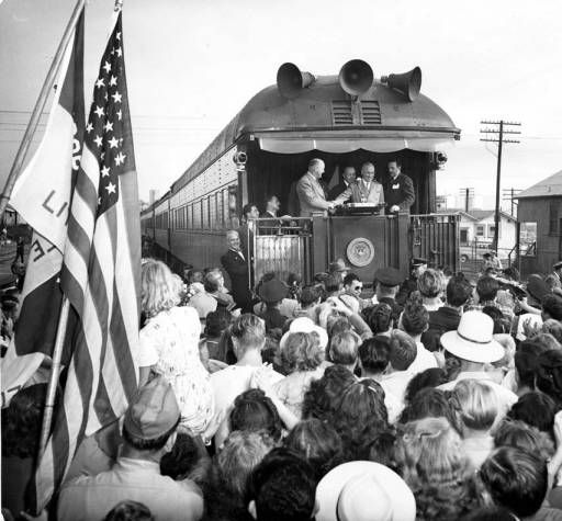 In 1948, President Harry S. Truman stopped at the Southern Pacific train depot in Glendale to give a five minuite campaign speech. Next to Truman (from right to left) are James Roosevelt, Everett G. Burkhalter (former state assemblymen), Richard R. Rogan (chairman of the welcoming committee), and Floyd J. Jolley (Glendale city councilman). Glendale Central Public Library. San Fernando Valley History Digital Library.: History Digital, Roosevelt Everett, 1948 President, U.S. Presidents, James Roosevelt, History Cultures, President Harry