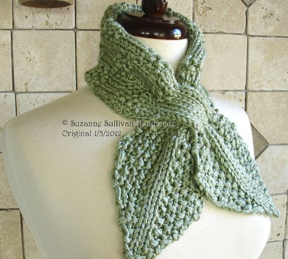 Ascot Scarf Knitting Pattern : Womans Scarf, Hand knit Ascot Scarf, Key Hole Scarf, Spearmint Green Sca...