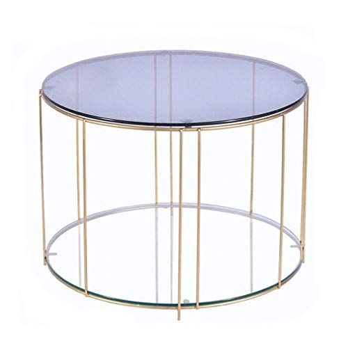 Simple Coffee Table Wrought Iron Side Table Translucent Tempered