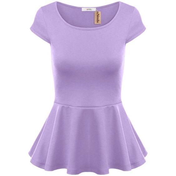 Simlu Short Sleeve Womens Peplum Shirt Reg. and Plus Size Peplum Top... ($14) ❤ liked on Polyvore featuring tops, peplum tops, peplum shirt, short-sleeve shirt, purple top and shirt tops