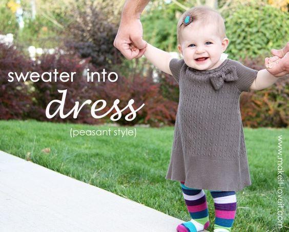 Sweater to dress tutorial. So cute!