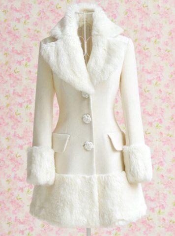 Elegant Turn-Down Collar Long Sleeve White Coat For Women | Sleeve