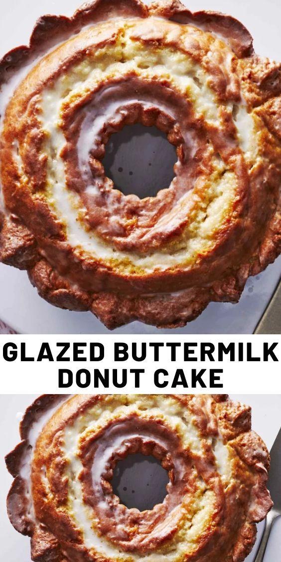 Glazed Buttermilk Donut Cake In 2020 Dessert Recipes Delish Recipes Dessert Recipes Easy