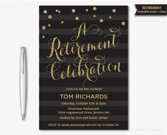 Elegant retirement celebration invitation you print yourself, or email to…