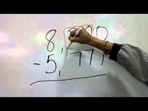 This is the easiest way to teach subtraction across 0s.  I used it this past year and my students said it was sooo much easier.  Subtraction Across a Zero - YouTube