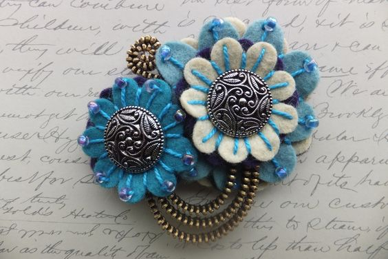Double Flower Felt Zipper Brooch For Coat Jacket by MsLolaCreates: