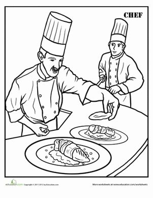 Second Grade Life Learning Worksheets Chef Coloring Page