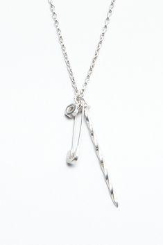 Lauren Klassen Safety Pin Nail Necklace (Silver)/TOTOKAELO