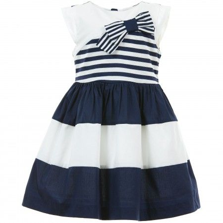 Mayoral Chic - Navy Blue &amp White Striped Cotton Dress ...