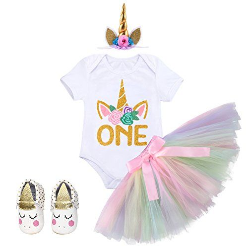 Baby Girl 1st Birthday Unicorn Party Dress Outfits 4pcs Outfits Set Kids Clothes