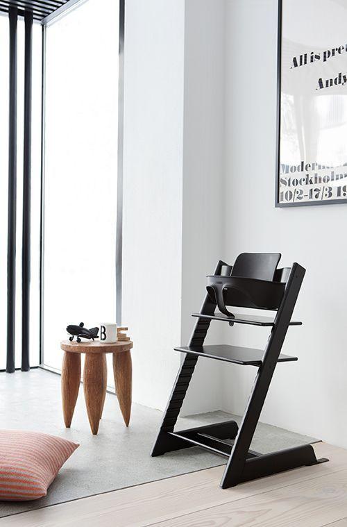 Stokke Tripp Trapp High Chair And Stool Simple Sleek Design In Black White Highchair Modern High Chair Baby Chair Baby High Chair