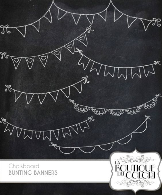 chalkboard Bunting Banners doodle cliparts Digital Clip Art. Party Clipart Printable Download for Personal and Commercial Use. PNG