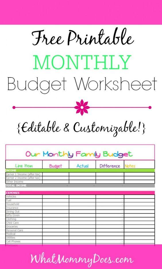 monthly basic budget worksheet