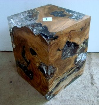 Teak Cubes and Blocks with Cracked Resin