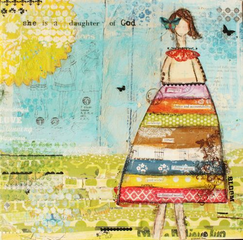 love the paper strips in the dress for journaling