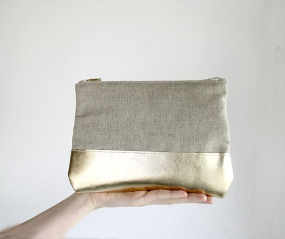 BOGO SALE Gold Leather Clutch, Natural linen clutch, zipper clutch with Iphone sleeve, color block purse, evening clutch, via Etsy.