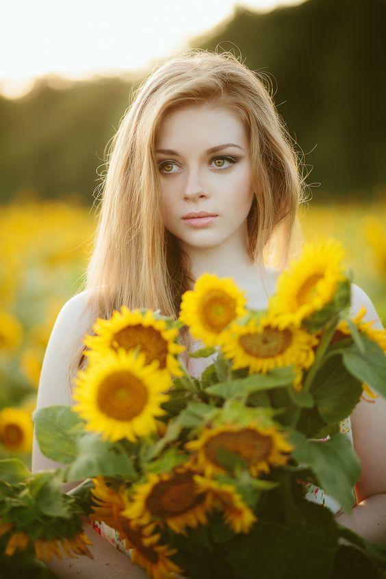 Girl & Flowers.: