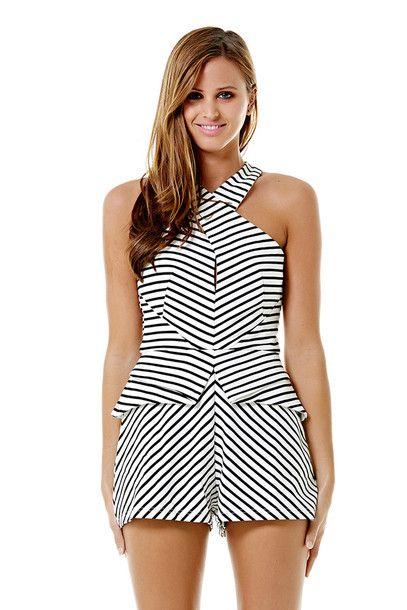Black & white striped #romper
