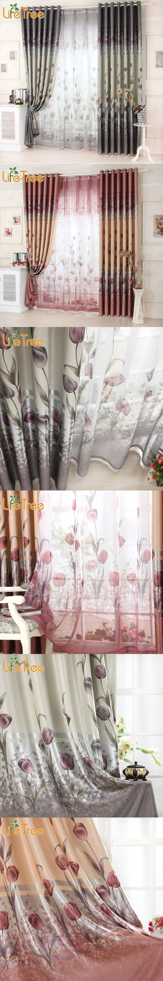 Blackout curtains for bedroom - Luxury Window Curtains For Living Room Tulip Printed Bedroom Blackout Curtains Tulle Kitchen Sheer Drapes 15 7