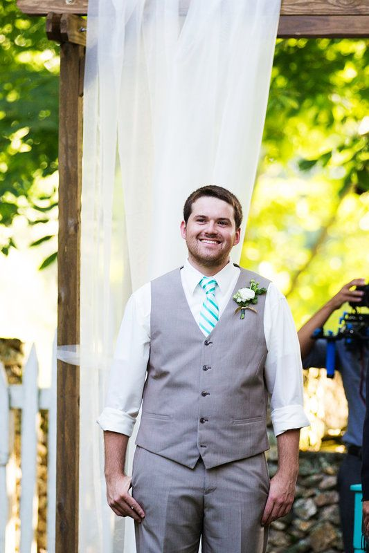 Excited Groom - Katie + Kenny's Wedding  {The Fillauer Lake House - Cleveland, TN} Photo By Caressa Rogers Photography  #gray #suit #teal #tie #arbor