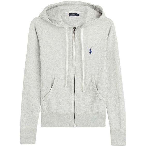 Polo Ralph Lauren Zipped Jersey Hoodie IDR) ? liked on Polyvore featuring tops, hoodies, grey, zip front hoodie, zippered hooded sweatshirt, grey hooded ...