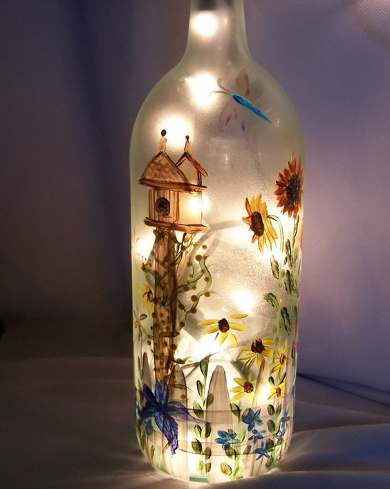 "Decorative Wine Bottles Lights Unique Hand Painted Light Wine Bottle ""garden Soul"" Bebe' Neat Wine Design Decoration"