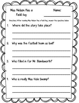 Miss Nelson Has a Field Day Printables | Field Day, Nelson and ...
