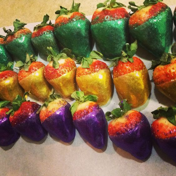 Mardis Gras Strawberries! Chocolate covered infused with Patron