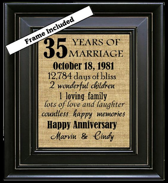Gift Ideas For Parents 35th Wedding Anniversary : 35th Wedding Anniversary 35th Anniversary Gifts by BurlapNGlass 35 ...