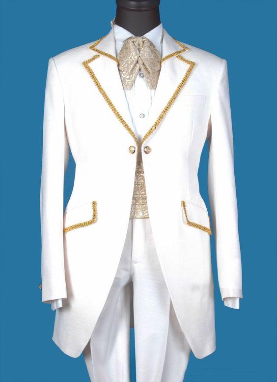 Baroque White Gold Wedding Tuxedo For Men
