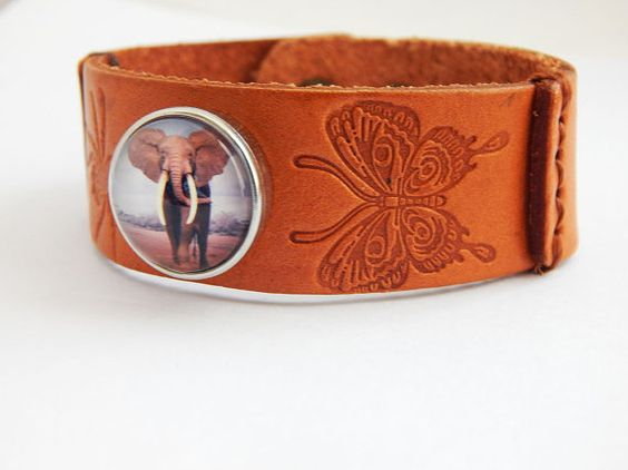 Elephant Snap Bracelet Leather Brown Butterfly Teen Adjustable Cute Nature Birthday Christmas Teen Girl Gift Ideas Elephant Jewelry by TheBlackerTheBerry