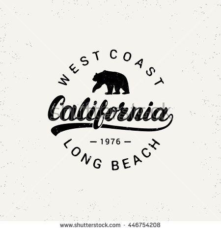 California hand written lettering with bear. Grunge texture. Typography tee print. Apparel design. Vector illustration. - stock vector