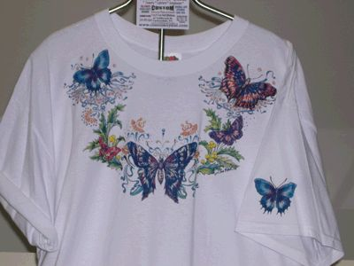 Butterfly Tee-Shirt From Our Collection, We Put a Design (Of Your Choice) Onto the Front of the Tee-Shirt, On the Back of the Tee-Shirt or on Both Sides. Visit: www.cosmoscrystal.com and Business Page on Facebook.