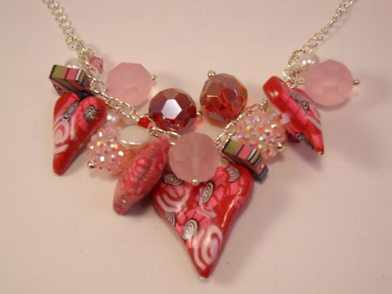 Heart of Hearts Polymer Bead Necklace on Etsy, $48.00