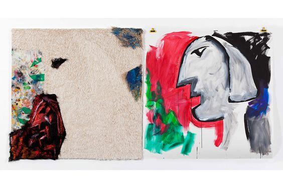 """Patrick Saytour - """"Etude(s)"""", 2006. Peinture sur fourrure synthétique montée sur châssis entoilé et peinture sur papier libre. 150 x150 cm (X2)."""