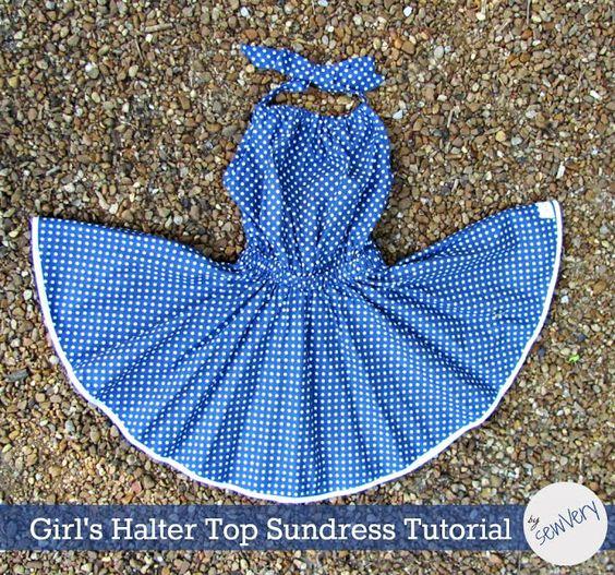 sewVery: Girl's Halter Top Sundress Tutorial