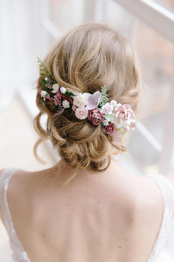 Blume Haarkamm Staub rose Haarkamm Hochzeit Haarteil Braut | Etsy
