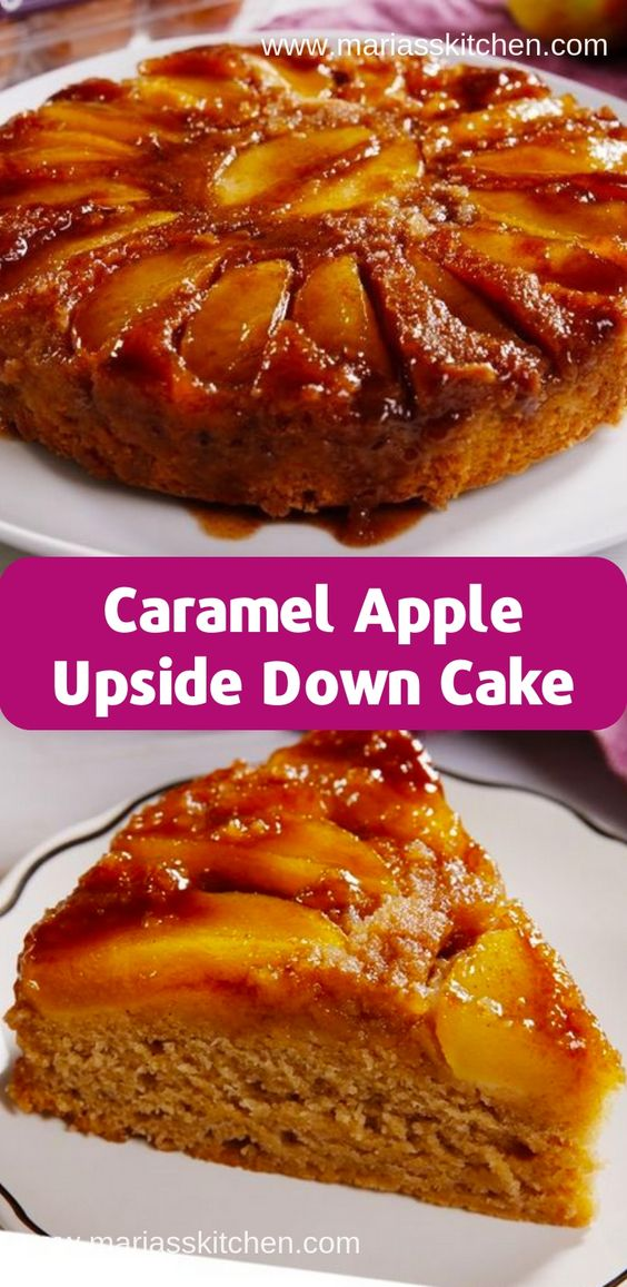 Caramel Apple Upside Down Cake Recipe ( Desserts, Cakes )