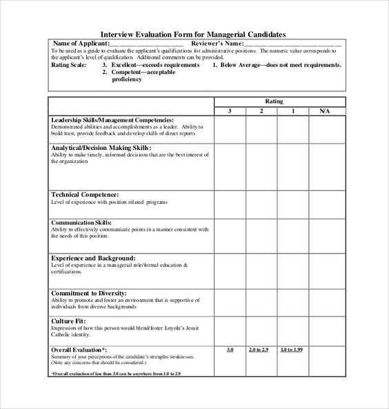 Interview Assessment Form For Managerial Position  Taw