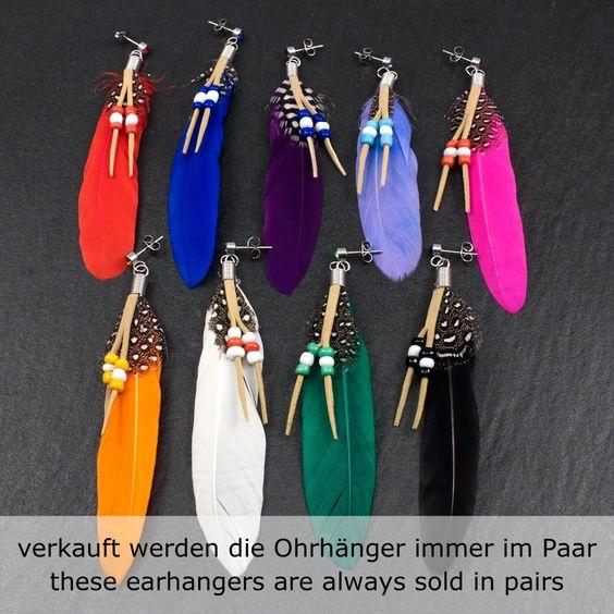 XL FEDER Ohrringe OHRHÄNGER Zirkonia Federohrringe BoHo FEDERN vintage INDIANER | eBay